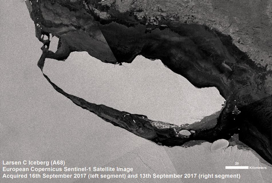 Der Eisberg, der sich vom Larsen C Eisschelf gelöst hatte, war einer der grössten in den letzten Jahren. Er hinterlässt ein fast 6'000 km2 grosses eisfreies Gebiet am Meeresboden. Bild: BAS