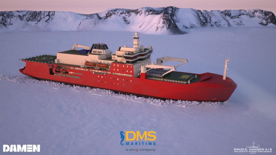 Eine Grafik des neuen australischen Eisbrechers im Eis (Bild: Damen/DMS/Knud E Hansen A/S)