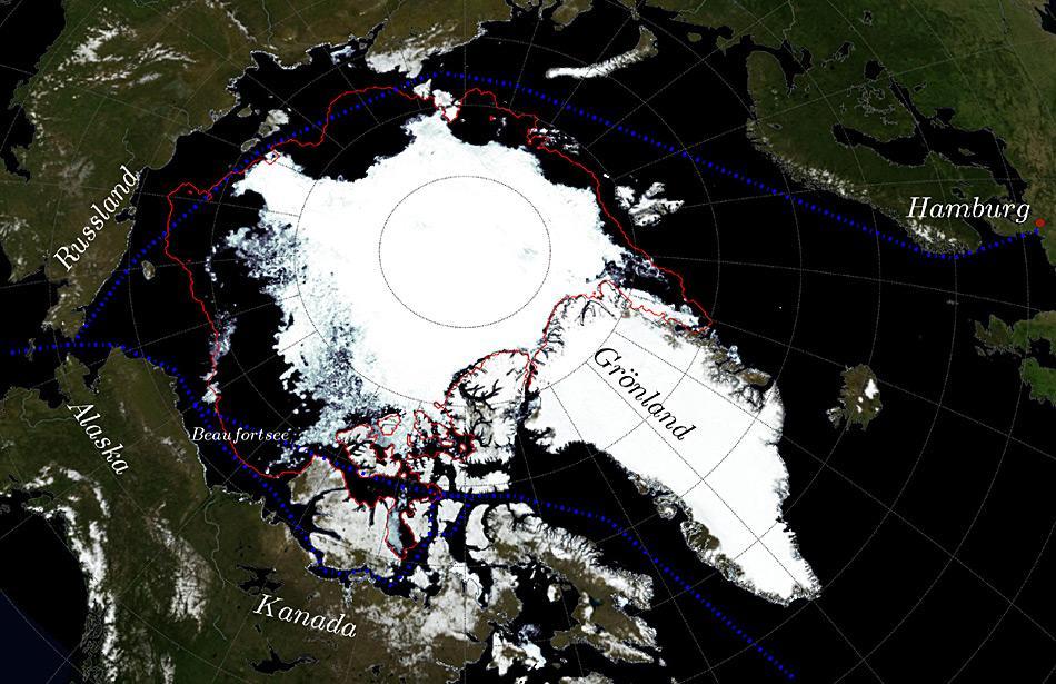Karte der Arktis mit Eisarm in der Beaufortsee. Dargestellt ist die Eiskonzentration aus JAXA AMSR2-Satellitendaten am 1. September 2015, eine 15-Jahre (1992-2007) Klimatologie der September-Eisausdehnung in rot sowie verschiedene mögliche Seewege (Nordost- und Nordwestpassagen) in blau.