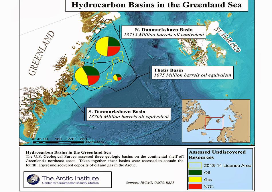 Karte der Framstrasse mit den Mengen der vermuteten Erdöl- (grün), Erdgas (gelb) und Flüssiggasstätten (rot)