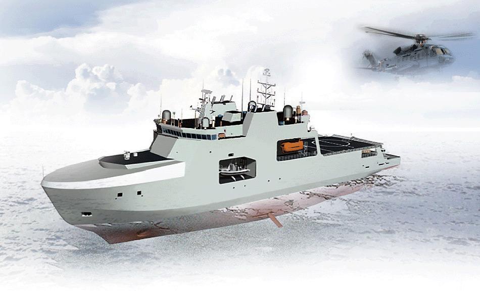 Die geplanten AOPS (Arctic/Offshore Patrol Ships) werden 103 Meter lang sein eine Crew von 65 haben. Die Hauptbewaffnung ist eine ferngesteuerte 25-mm Kanone. Ausserdem erlaubt der Bau des Schiffes die Aufnahme eines geplanten CH-148 Cyclone Seehelikopters, der auch 2018 fertig sein soll. Bild: The Globe and Mail