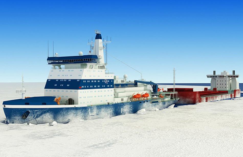 Die neue LK-60-Klasse wird die grössten Eisbrecher der Welt beinhalten, mit einer Länge von 173 Meter, 34 Meter Breite und einer Verdrängung von 33'540 Tonnen. Sie sollen bis zu 3 Meter dickes Eis brechen können und die Kernreaktoren werden eine Kraft von 90'000 PS (60 MW) erzeugen. Bild: Rosatom / Barents Observer